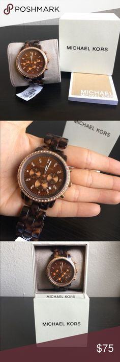 Michael Kors Brown Tortoise Watch 100% Authentic, with original box and tag.  Used, but in great condition. It has been kept in the box.  Battery needs to be replaced. Michael Kors Accessories Watches