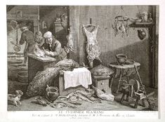 A fantastic engraving of an early 18th century kitchen.  Notice the freshly plucked fowl hanging from a rack in the upper right corner, and the little terrier (spit dog) in the left lower corner.  ~LMB