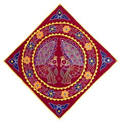 Cloth Wall Hangings appliqued peacock decorated with embroidery on maroon velvet cloth