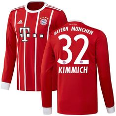 Joshua Kimmich Bayern Munich adidas 2017/18 Home Replica Long Sleeve Jersey - Red - $129.99
