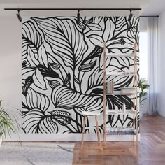 White Black Floral Minimalist Wall Mural by beautifulhomes Black Painted Walls, Black Walls, Big Wall Art, Mural Wall Art, Bedroom Murals, Bedroom Wall, Doodle Wall, Garden Mural, Basement Remodel Diy