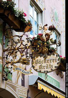 Shop sign advertising a bakery, Garmisch_Patenkirchen, Werdenfelser Land, Upper Bavaria, Bavaria, Germany, Europe / cities and shops