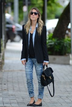 Jeans e blazer Office Fashion, Work Fashion, I Love Fashion, Winter Fashion, Fashion Outfits, Fashion Trends, Looks Camisa Jeans, Looks Jeans, Blazer With Jeans