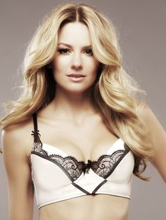 Isabella White/Black Long Line Bra