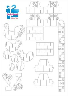 Chicken kirigami pattern