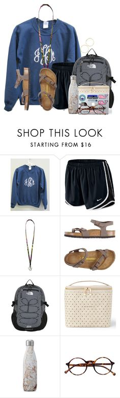 """""""Class breakfast this morning"""" by flroasburn ❤ liked on Polyvore featuring NIKE, Vera Bradley, Birkenstock, The North Face, Kate Spade, S'well, Retrò and J.Crew"""