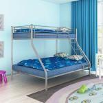 vidaXL 200x140/200x90 cm fém emeletes gyerek ágy szürke
