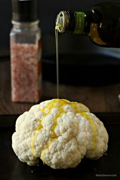 oil and pink sea salt drizzled cauliflower