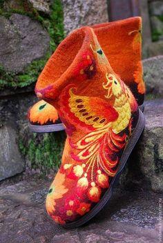 Валенки « Жар-птица » хохлома - валенки,валяные тапочки,женские тапочки