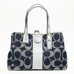 """$328.00 Coach Signature Stripe Framed Carryall Tote/Handbag 17424 Denim/Silver - Exterior Features: -CC jacquard Coach signature fabric that is specially treated to repel water and stains -Silver vertical center stripe -Double handle straps made of black patent leather (8"""" drop) -Coach hangtag made of patent leather -Four nickel feet on the bottom to protect against scuffing and stains -Silver har ..."""