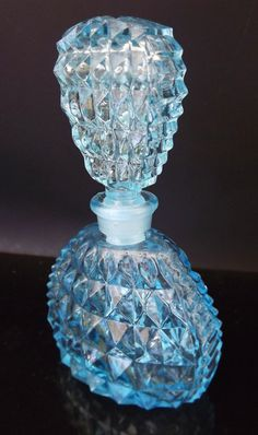 Vintage Perfume Bottle - Aqua Blue Crystal Glass with Perfume Stopper - Diamond Cut Crystal