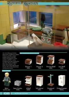 Modular furniture Lego - The JOHN Collection 3 . Lego Modular, Lego Design, Lego Disney Princess, Lego City, Moc Lego, Lego Lego, Lego Poster, Lego Kitchen, Instructions Lego