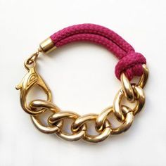 Items similar to Bon Voyage Rope Bracelet, Raspberry Rope Bracelet With Chunky Golden Chain on Etsy