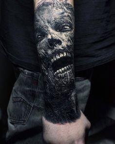 best_tattoos_ig__ - only best tattoos Zombie Tattoos, Evil Tattoos, Creepy Tattoos, Skull Tattoos, Black Tattoos, Body Art Tattoos, Hand Tattoos, Sleeve Tattoos, Mädchen Tattoo