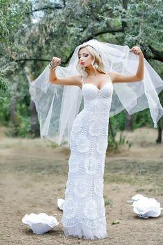 crochelinhasagulhas: Vestido de noiva em crochê
