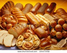 Bakery product assortment with bread loaves, buns, rolls and Danish pastries