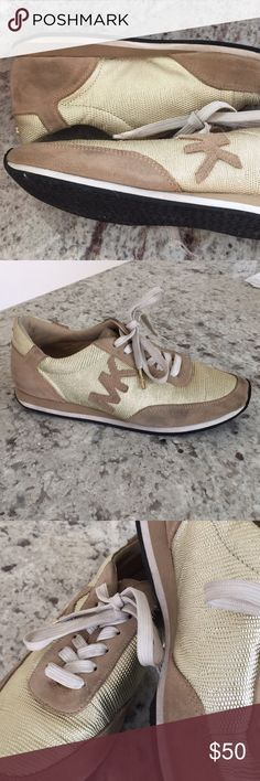 Michael Kors Women's sneakers, size 7.5 Used but perfect condition, Gold / Tan Leather sneakers. Lace up. Michael Kors Shoes Sneakers