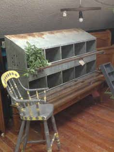 Chicken coop repurposed into a fabulous compartment storage unit! I've always wanted to make something from a chicken coop! Chicken Feeders, Chicken Coops, Rustic Farmhouse, Farmhouse Style, House Deck, Farm House, Chicken Nesting Boxes, Metal Chicken, Wooden Ladder