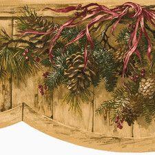 Lodge Décor Pinecone Swag Die Cut Floral Botanical Border Wallpaper