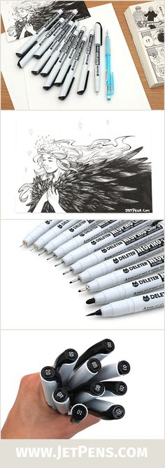 The Neopiko Line 3 Drawing Pens contain pigment ink that is waterproof, lightfast, and marker-proof when dry!