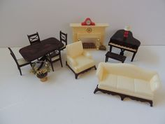 Renwal Doll House Furniture and Marx Fireplace..