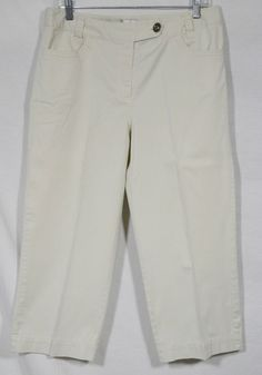 CHICO'S Beige Capri Pants 1 Stretch Cotton Stitched Trim at Pockets Summer Style #Chicos #CaprisCropped