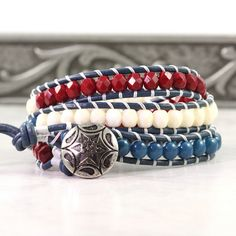 Wrap Bracelet Patriotic Jewelry Blue by AbacusBeadCreations