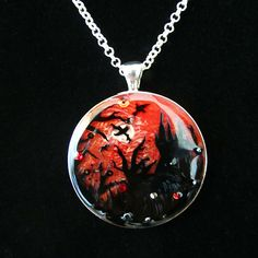 Vampire's Sunset Large Round Silver Pendant | Bijou but Deadly