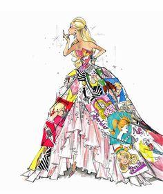 Barbie Glitter Embellished Print by vintagepaperdolls on Etsy, $7.00