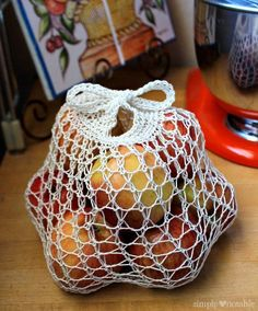 I created a knit produce bag pattern that's almost weightless, is super stretchy and has handles that tie to keep those fruits and vegetables contained