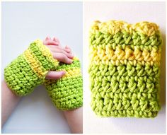 Crochet Children's Fingerless Gloves Cotton Citrus Lime Yellow Stripe. $18.00, via Etsy.