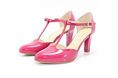 KOTYL 889 FUKSJA - Piękne buty taneczne ze skóry