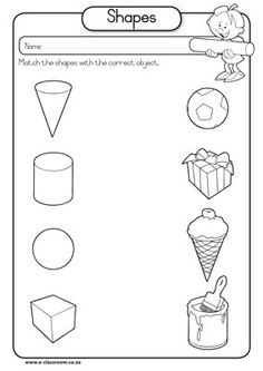 solid shapes worksheets for kindergarten | Solid Shapes. More