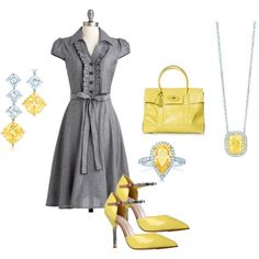 Grey and Yellow.  I am pretty sure I need this dress.