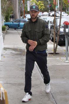 Justin Timberlake wearing Linksoul Make Par Not War Trucker Hat, Moncler Rayan Nylon Jacket