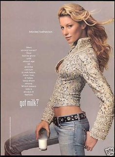Got Milk? Want strong bones? Your bones grow until about age 35 and the calcium in milk helps. After that, it keeps them strong. America's Dairy Farmers and Milk Processors. Gisele Bundchen Age, Calcium In Milk, Got Milk Ads, Yasmine Bleeth, Gisele Bündchen, Perfect Jeans, Vintage Music, Celebs, Celebrities