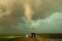 The second tornado near Rozel, KS on May 18th 2013. The tornado was wobbling back and forth, and suddenly came a little too close for comfort.