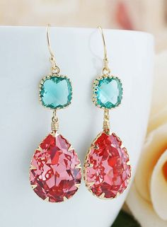 Rose Peach with Blue Zircon Swarovski Crystal GOLD FILLED Dangle Earrings