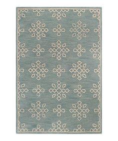 Look at this #zulilyfind! Aqua Geometric Floral Wool Rug by Bashian #zulilyfinds