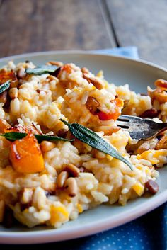 Baked Risotto with butternut, pine nuts and sage. The end result is a mixture between creamy risotto and crusty paella...just delicious!