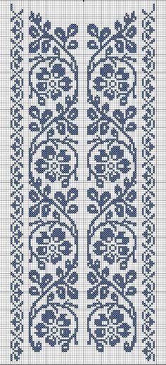 cross stitch flower border                                                                                                                                                     Más
