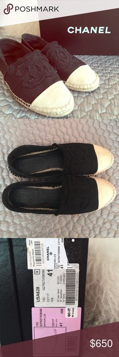 Authentic Chanel Canvas Espadrilles! These perfect Black & Cream Chanel Espadrilles are a size 41 (equivalent to 9.5 or 10)! They have been worn only 3 times and are in nearly immaculate condition (excepting some wear on the soles as pictured). As you can see on the box these were purchased at Bloomingdales. This purchase will include the box, dust bag, and care instructions in addition to the shoes themselves! Please don't hesitate to ask any questions! CHANEL Shoes Espadrilles
