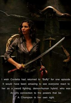 "I wish Cordelia had returned to ""Buffy"" for one episode. It would have been amazing to see everyone react to her as a sword fighting, demon/human hybrid, who was Angel's connection to the powers that be. A Champion in her own right. Spike Buffy, Buffy The Vampire Slayer, Cordelia Chase, Charisma Carpenter, Buffy Summers, Firefly Serenity, Great Tv Shows, Joss Whedon, The Villain"
