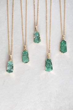 Green pendant druzy necklace.