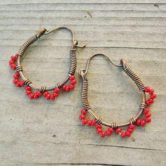 Red Ruffle Bottom Hoops - wire wrapped antiqued copper cuties - seed beaded hoop earrings. via Etsy.