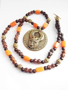 Men African Necklace Bronze Jewelry Baule Wood Stone Beaded Ethnic Ghana Long by TheBlackerTheBerry