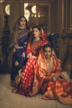 Sarees by Ayush Kejriwal Indian Attire, Indian Outfits, Bengali Bride, Bengali Wedding, Indian Sarees, Bengali Saree, Sabyasachi, Saree Photoshoot, Kanjivaram Sarees