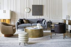 Clockwise from left: Griffith bar cabinet; Hillcrest sofa; Melange side table; Huntley cabinet; Larchmont chair; Alta coffee table; Laurel stool; Sonara swivel chair.