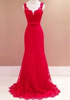 Red Patchwork Mermaid Lace Bow Belt Backless Plunging Neckline Sexy Prom Maxi Dress