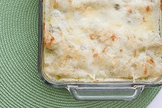 Taste & Tell blog: White Chicken Enchiladas | I subbed in can of Rotel & black beans into the chicken mixture & didn't do the chiles this time.